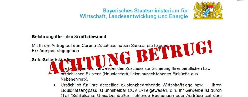 Betrug E-Mail Wirtschaftsministerium Corona-Soforthilfe